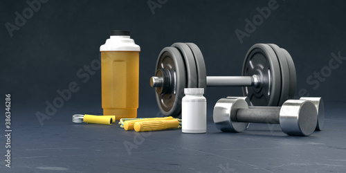 Obraz Supplement and gym and fitness workout equipment. Sport lifting bodybuilding concept with vitamins background. Body supplements copy space black  template. 3d rendering. - fototapety do salonu