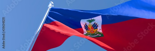 Canvas Print 3D rendering of the national flag of Haiti waving in the wind