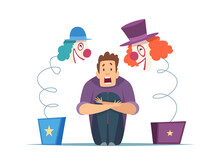 Nervous Man. Male In Panic, Fear Of Clowns. Isolated Screaming Guy, Frightening Circus Toys Vector Illustration. Fear Clown And Horror Evil, Phobia Fright