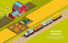 Railroad Or Rail Transportation Concept. A Train Loaded With Grain And Bales Of Hay Crossing Agricultural Land. Isometric Cartoon Vector Illustration. Website Or Web Page Template.