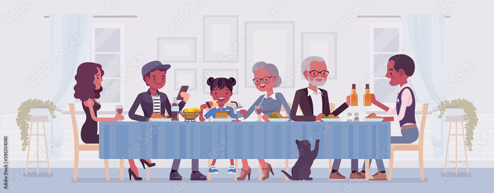 Fototapeta Big happy black family eating festive dinner at table. Holiday gathering for many people of different generations, friends, community, dining traditions. Vector flat style cartoon illustration