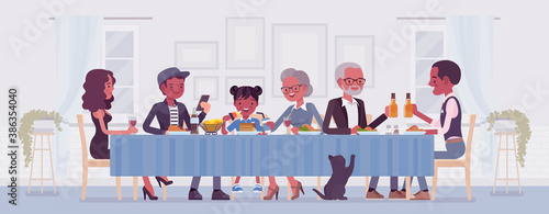Big happy black family eating festive dinner at table. Holiday gathering for many people of different generations, friends, community, dining traditions. Vector flat style cartoon illustration - 386354040