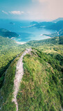 Footpath on a sharp mountain in Clear Water Bay, Sai Kung, Hong Kong. Hiking destination, clear weather in Autumn, epic view