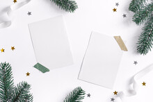 Christmas Card With Fir Twigs, Confetti And Mockup Letter.