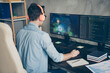 canvas print picture Rear back behind view of his he nice focused skilled experienced guy geek practicing web development dev playing game coding at modern industrial home office work place station indoors