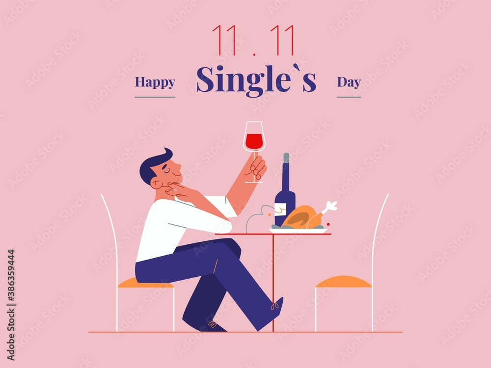 Fototapeta Young single man is celebrating Singles day - November 11 - with wine and roast. Holiday for bachelors, which opens Chinese shopping season. Social trends and and their cultural background