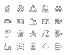 Waste Recycling Flat Line Icons Set. Garbage Bag, Truck, Incinerator Factory, Container, Bin, Rubbish Dump Vector Illustration. Outline Signs Of Trash Management. Pixel Perfect. Editable Stroke
