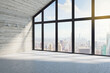 canvas print picture - Modern loft interior with city view.