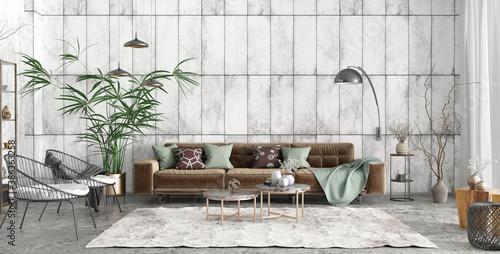 Obraz Interior design of modern loft apartment, living room 3d rendering - fototapety do salonu