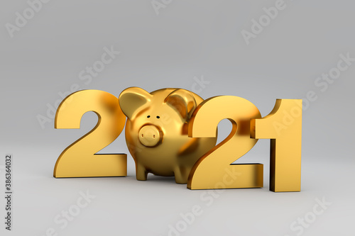 Photo Happy New Year 2021 concept: Golden letters 2*21 and a piggybank inbetween