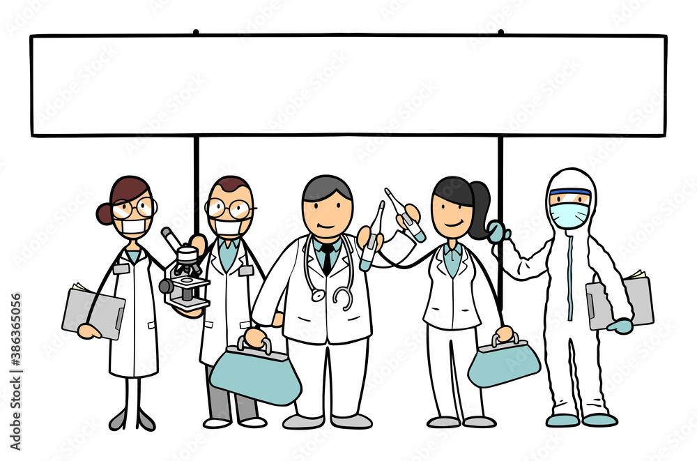 Fototapeta Mediziner Team mit Ärzten und Forschern halten Schild