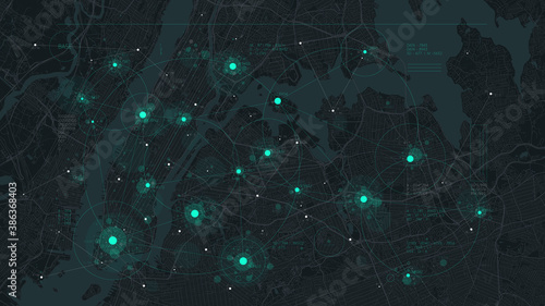 Futuristic technology and network connection concept, big smart city virtual database, digital visualization of big data on New York map background, vector illustration