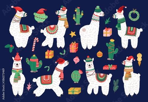 Naklejka premium Christmas alpaca. Funny winter llama, holiday cute exotic animals. Scandinavian lama and cactus, cartoon kids wildlife characters vector set. Illustration christmas alpaca, llama cute