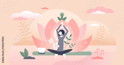 Obraz Holistic healing as man soul meditation and inner peace tiny person concept - fototapety do salonu