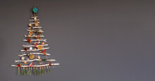 Alternative Christmas Tree Made With Branches, Decorated With Ecological Toys, Zero Waste Holidays