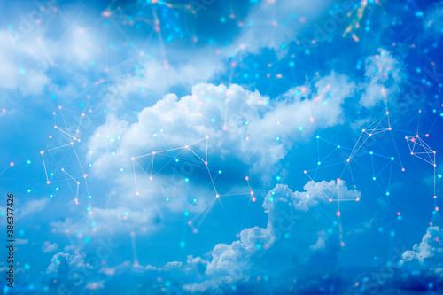 Fototapeta network web social online machine deep learning, data cloud storage digital technlogy, signal of satellite obraz