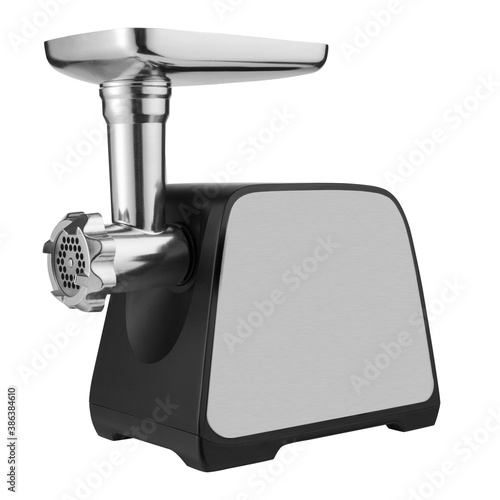 Foto modern electric meat grinder assembly, on a white background, metal and black pl