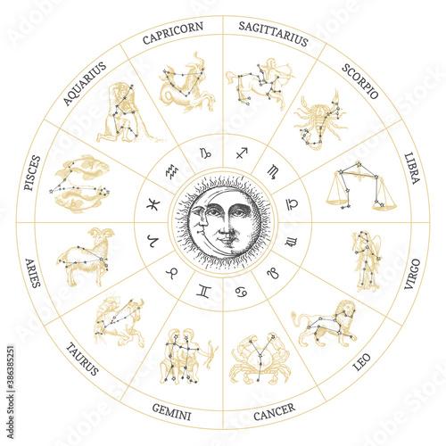 Obraz Drawn Zodiac symbols. Vector circle of horoscope. - fototapety do salonu