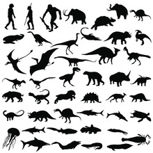 Set Of Vector Silhouettes Of D...