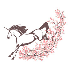 Mythical Unicorn Horse And Blooming Sakura Branches - Spring Season Cherry Tree And Magical Stallion Vector Decor