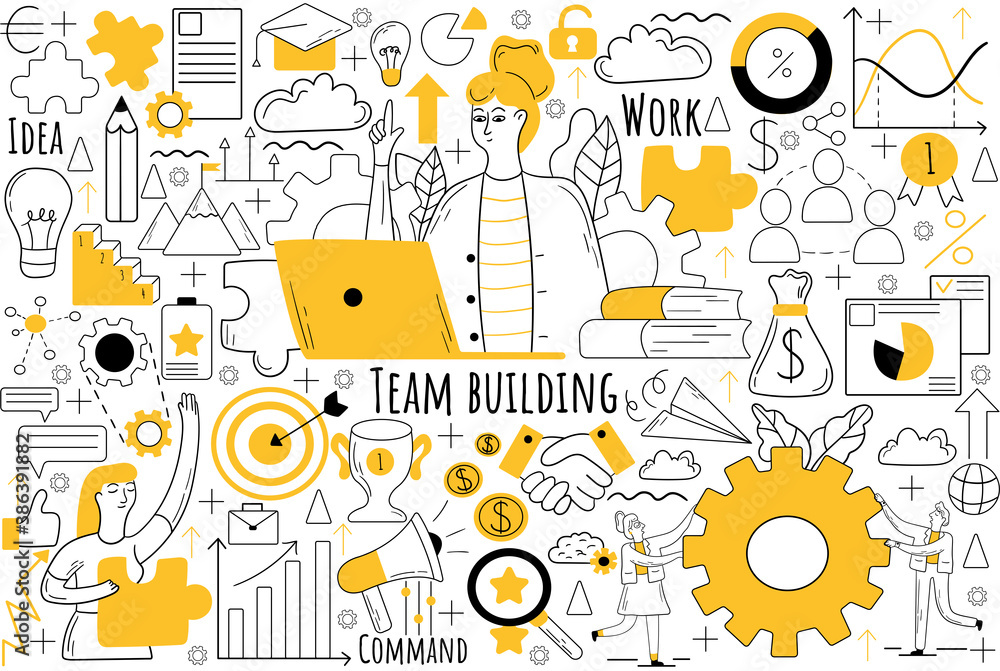 Fototapeta Team building doodle set. Collection of hand drawn sketches templates patterns of businesmen women clerks managers doing teamwork together. Corporate member communication and productive collaboration.