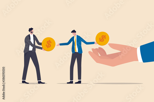 Obraz Living paycheck to paycheck, financial problem, get monthly income to pay for debt and loan or monthly expense concept, exhausted businessman salary man get dollar coin and pay it for creditor debt. - fototapety do salonu