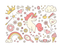 Cute Unicorn And Set Of Magic Objects. Shooting Star, Rainbow, Tiara And Magic Wand In Doodle Style. Hand Drawn Vector Illustration On White Background