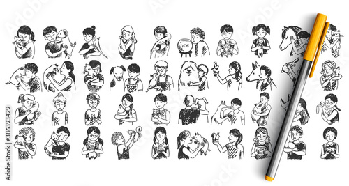Kids with pets doodle set. Colelction of pen pencil ink hand drawn sketches templates pattern of children boys girls with domestic animals dogs cats horses pigs hamsters. Illustration of human friends