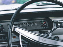 Nahaufnahme Des Lenkrads Eines Oldtimers Opel Rekord 1700