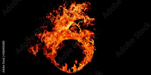 Cuadros en Lienzo Realistic fire Stock Image In Black Background