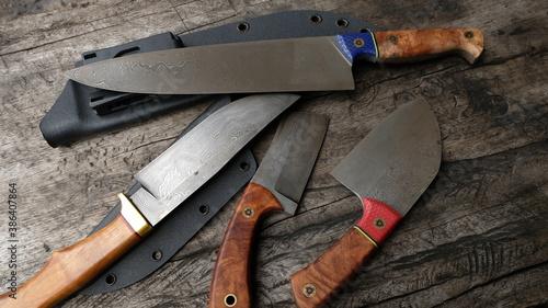 Tela various types of damascus knives