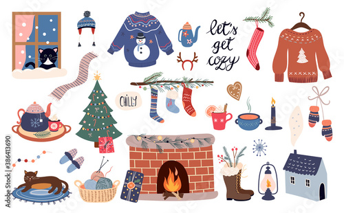 Cozy winter elements collection, hygge style, vector design