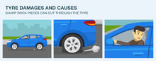 Tyre Damages And Causes Infographic. Sharp Rock Pieces Can Cut Through The Tyre. Blue Suv Car And Punctured Tyre. Flat Vector Illustration Template.