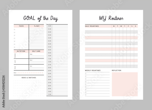 Fototapeta Daily, My Routines planner template. .2 Set of minimalist planners. Clear and simple printable to do list. Business organizer page. Paper sheet. Realistic vector illustration. obraz na płótnie
