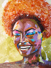 Portrait Of African Woman In Street Style Hand Drawn Acrylic On Canvas. African Woman With Curly Hair Portrait Pop Art Style Picture. Acrylic Beauty African Woman. Painting Fashion Illustration.