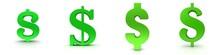 $ Dollar Sign Symbol Green Icon Set 3d