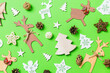 Leinwandbild Motiv Christmas green background with holiday toys and decorations. Happy New Year concept