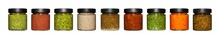 Different Color And Taste Sauces Jars And Dips
