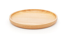 Empty Wooden Plate Isolated On...