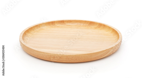 Photo Empty wooden plate isolated on white background with clipping path, brown wood r