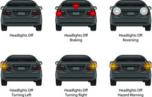 Driver Education: Car Rear Indicators. With Headlights Off. Day Time.