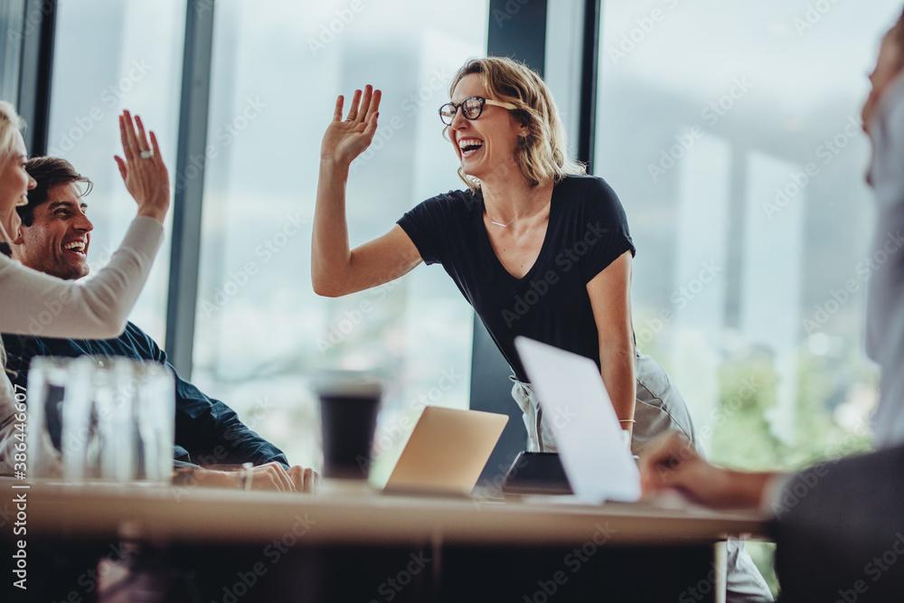 Fototapeta Business people high five in a meeting