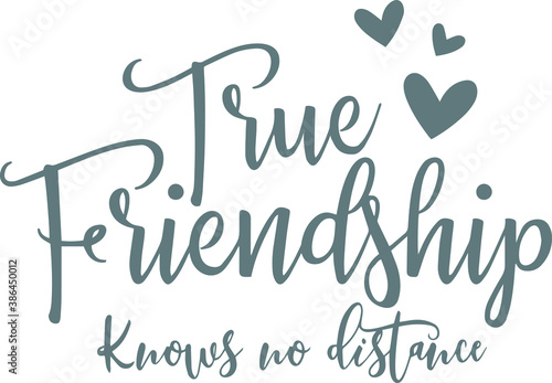 Fotografie, Obraz true friendship knows no distance logo sign inspirational quotes and motivationa