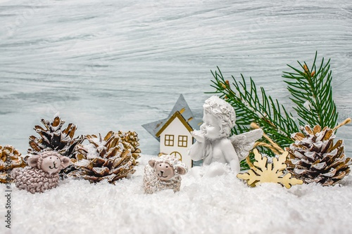 Fotografie, Obraz Christmas background with an angel , innocent person