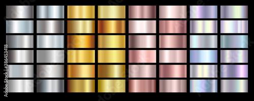 Fototapeta Gold rose, silver, holographic, bronze and golden foil texture gradation background set. Vector shiny hologram and metalic gradient collection for border, frame, ribbon, label design obraz