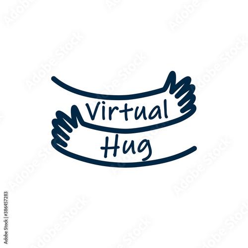Valokuvatapetti Virtual hug line icon