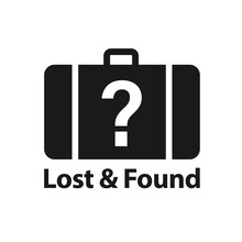 Lost And Found Black Symbol. Clipart Image