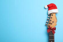 Top View Of Guitar With Santa ...
