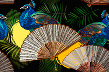 Beautiful Colored Peacocks And Japan Fan. Asian Seamless Pattern. Fashion Oriental Art. Oriental Style. Japanese And Chinese Art