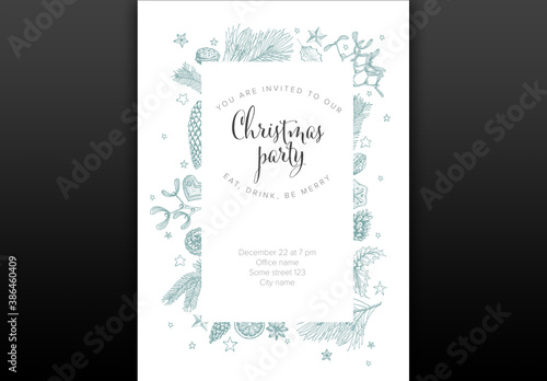 Obraz White Christmas Party Invitation Layout with Handdrawn Decorations - fototapety do salonu